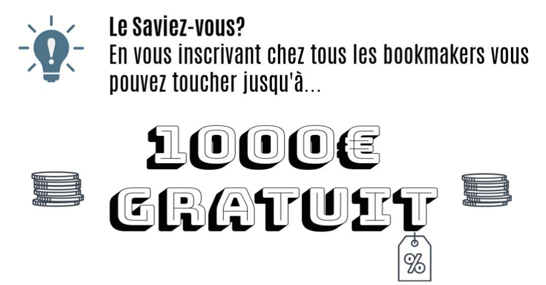 1000 euro gratuit paris sportif