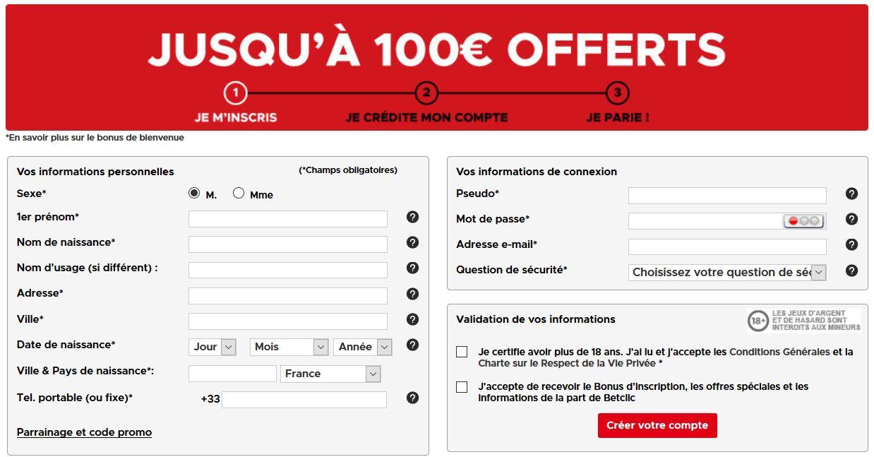 betclic 100 euros offert