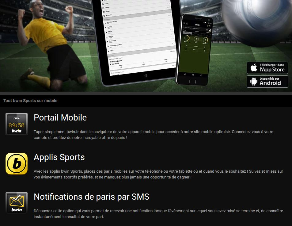 application mobile bwin paris sportif