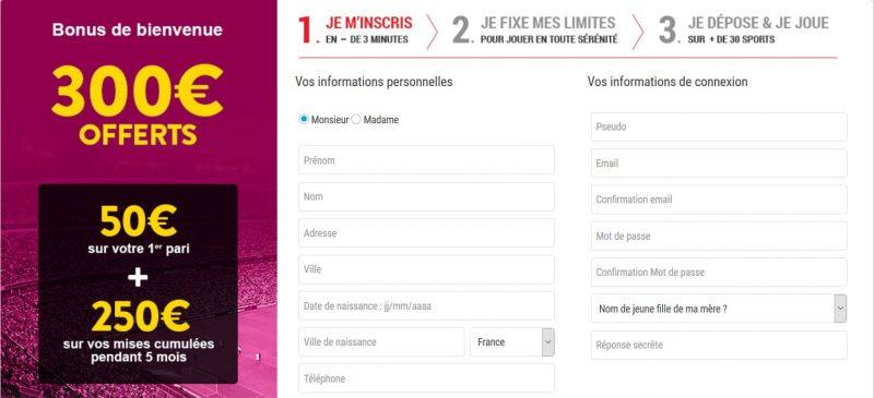 bonus inscription 300 euros sur feeling bet