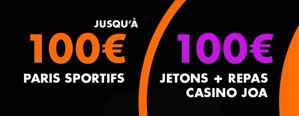 l'offre d'inscription de Joabet - 100 euros de paris sportif et 100 euros de jetons et repas casino