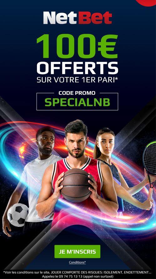 offre spéciale sur netbet.fr avec le code SPECIALNB 100 euros de paris offerts