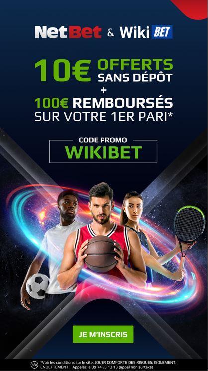 10 euros de freebet sans depot chez Netbet avec le code promo WIKIBET