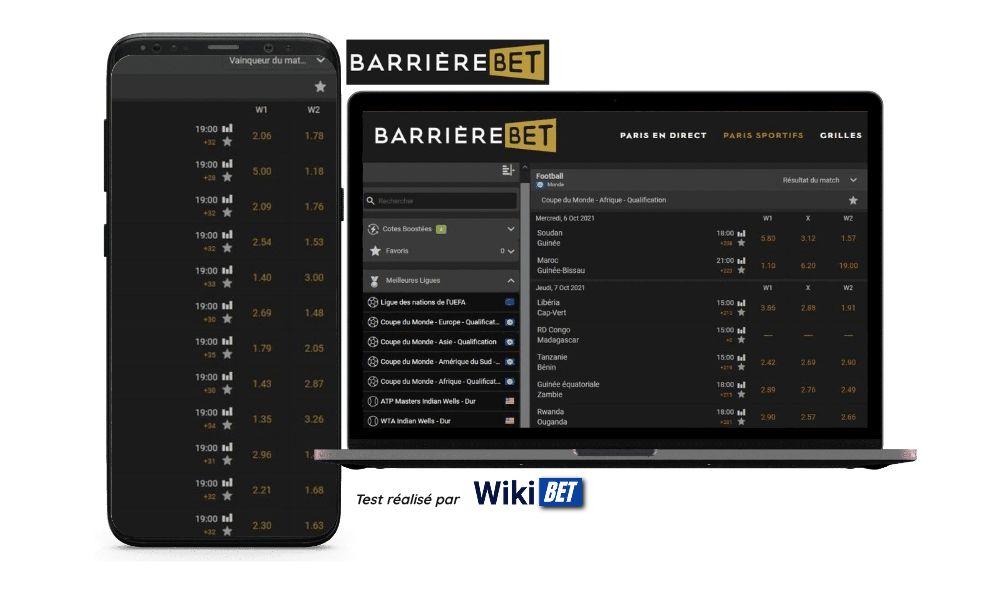 Photo des cotes du bookmaker Barrierebet sur un smartphone et un ordinateur portable - test réalisé par Wikibet