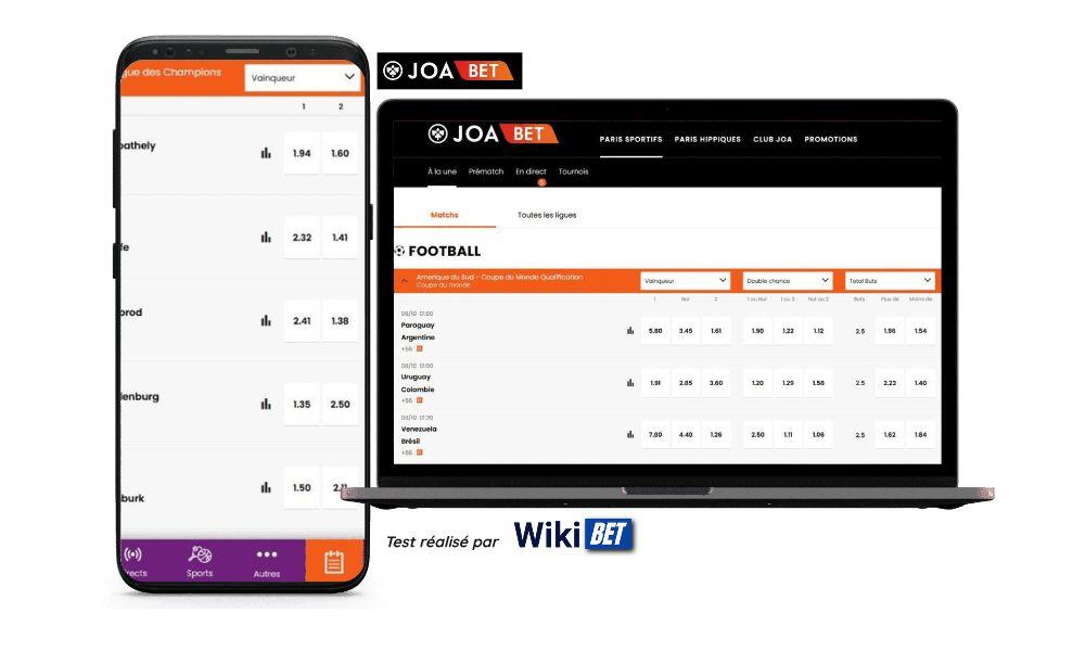 Photo des cotes du bookmaker Joabet sur un smartphone et un ordinateur portable - test réalisé par Wikibet