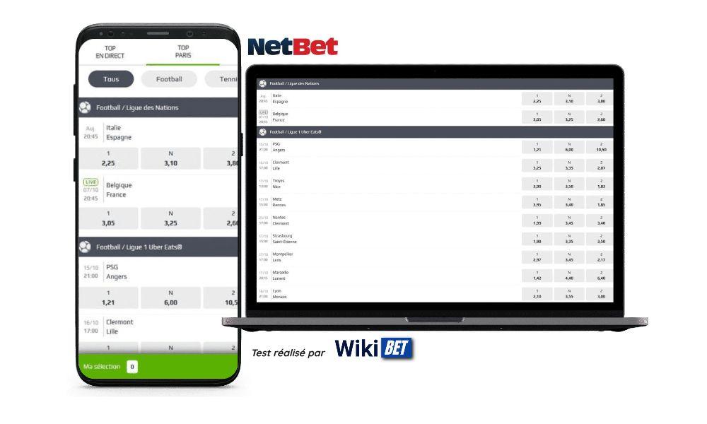 Photo des cotes du bookmaker Netbet sur un smartphone et un ordinateur portable test realise par Wikibet