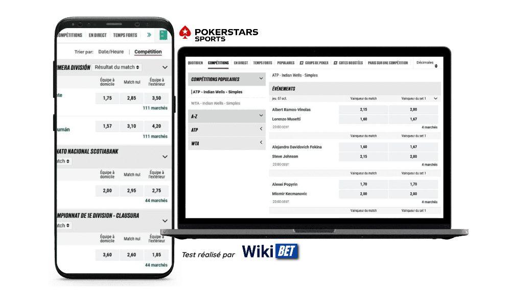 Photo des cotes du bookmaker PokerstarsSports sur un smartphone et un ordinateur portable - test réalisé par Wikibet