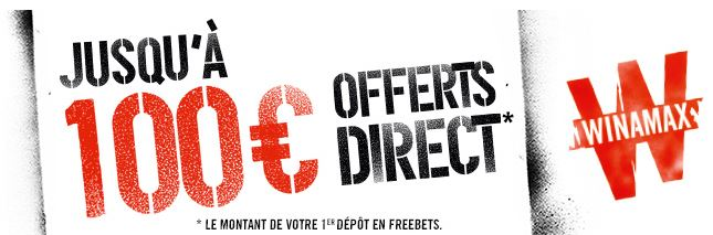 le bonus réservé aux nouveaux joueurs chez Winamax - 100 euros crédité en freebets
