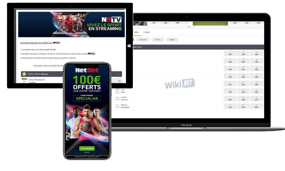 photo de 3 appareils connectes au site netbet iphone dune tablette microsoft et dun mac book pro
