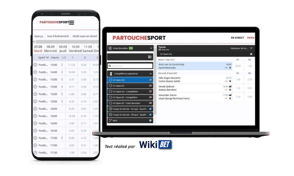 photo du rendu du site de Partouche Sport sur smartphone et sur ordinateur portable