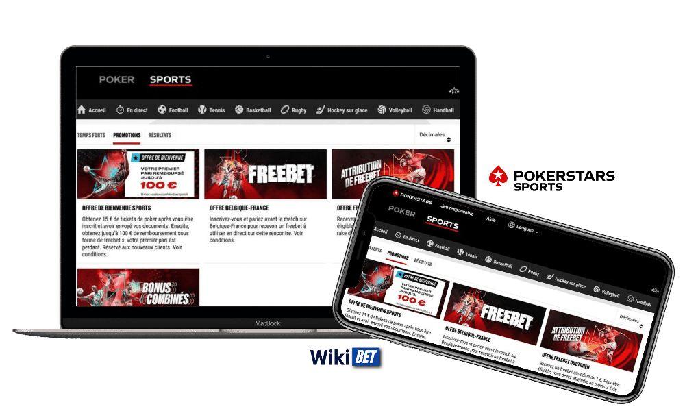 toutes les promotions du bookmaker PokerstarsSports sur ordinateur et sur smartphone
